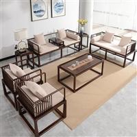 上海白蜡木沙发 胡桃木现代沙发组合  新中式实木沙发组合全屋定制