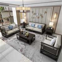 上海民宿沙发厂家 胡桃木储物实木沙发组合  实木沙发全屋定制