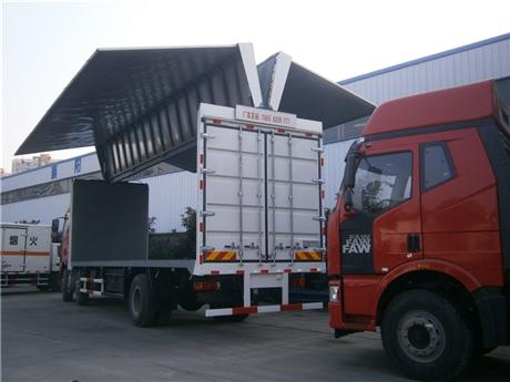 厢长7.6米额载7.5吨东风翼展车厂家直销
