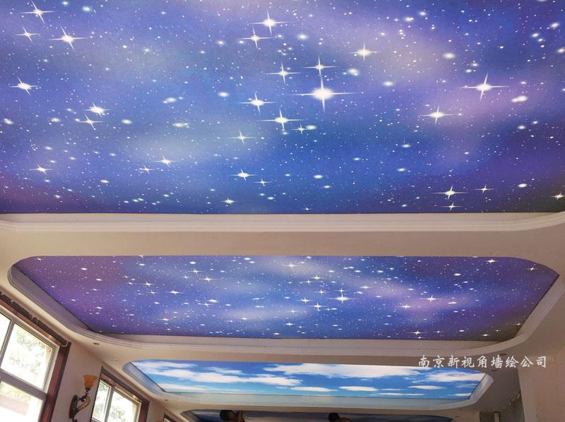 江苏南京吊顶星空彩绘CH1 蓝天白云天顶喷绘