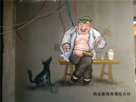 江苏南京中式餐厅墙绘h1 餐馆手绘墙画壁画价格合理