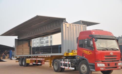 额载9.5吨厢长7.6米东风天锦翼展车生产厂家