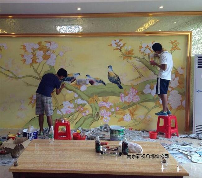 上海酒店手绘壁画H-1 上海酒店墙绘工笔画C