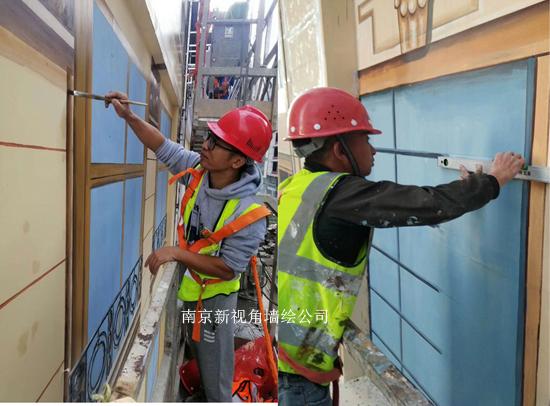 江苏楼盘外墙彩绘美化CH5 清水楼盘手绘欧式图案窗户
