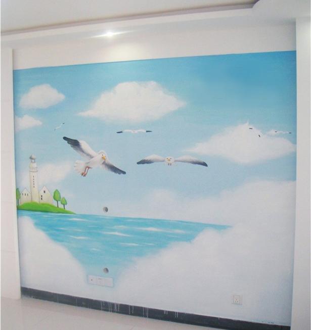 南京墙体彩绘1 电视背景墙墙绘DSQ 价格便宜不变色