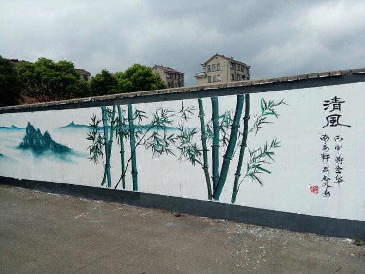 D2文化墙彩绘定制 扬州户外文化墙纯手绘 艺术感强
