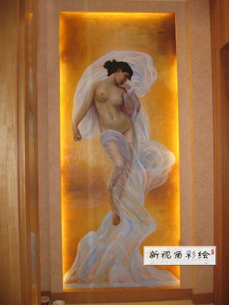 苏州酒店油画1 大厅高端人物手绘壁画 价格好质量更好