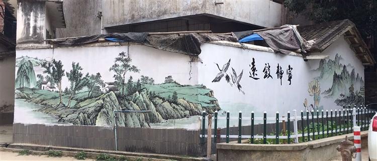 不转包农村外墙彩绘 江苏水墨画手绘壁画墙绘 画师直供