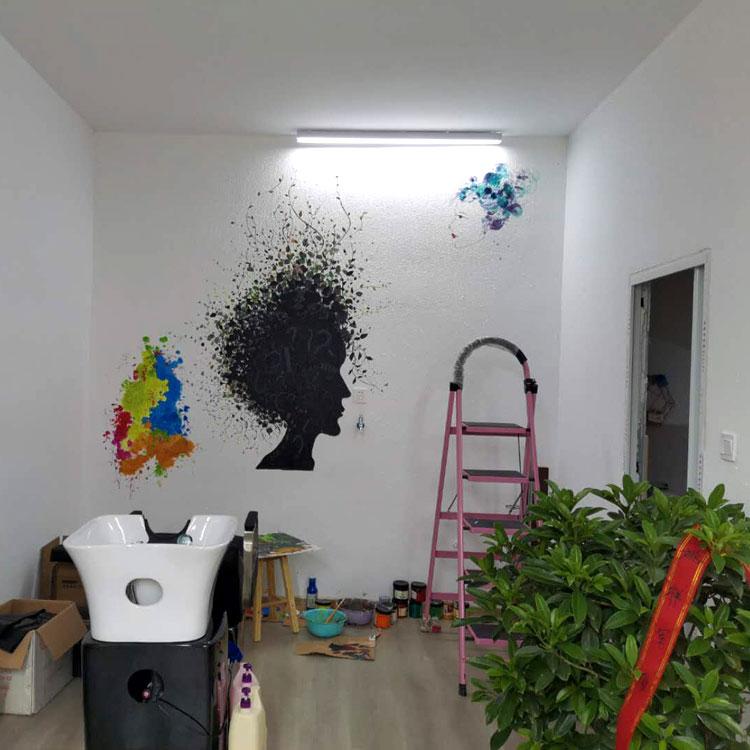 南京理发店创意墙绘 发廊毛墙时尚彩绘涂鸦T1 欢迎定制