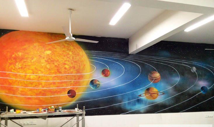 科技馆墙绘 宇宙元素墙体彩绘 江苏扬州南京手绘墙上门