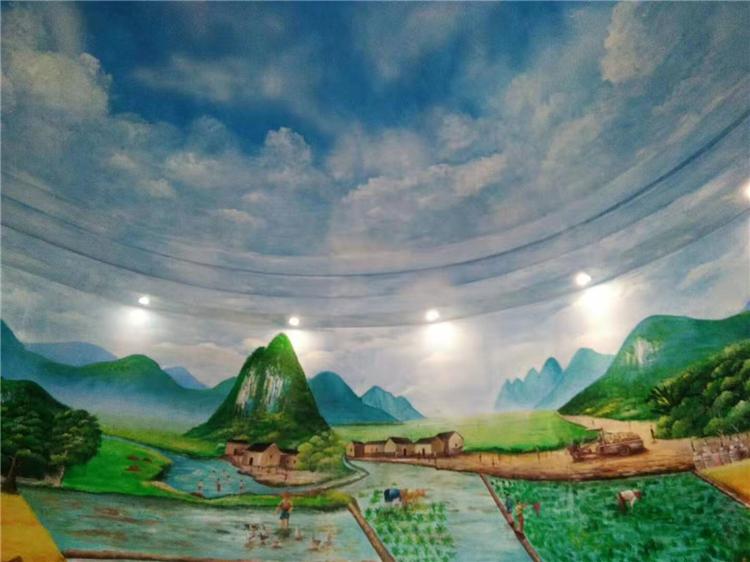 江苏室内大厅墙绘 南京风景墙体彩绘 乡村农活壁画油画