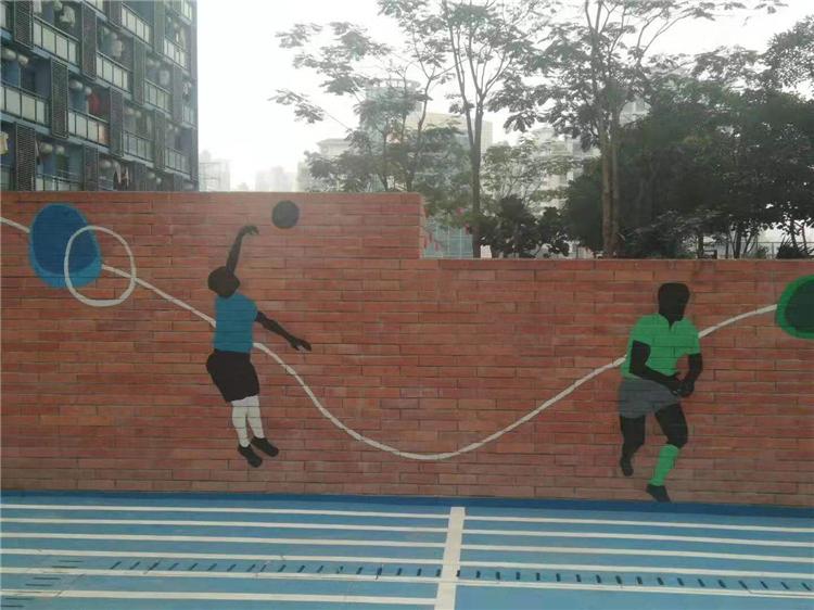 室外红砖墙体涂鸦彩绘 操场体育运动元素墙绘 常州校园手绘墙画