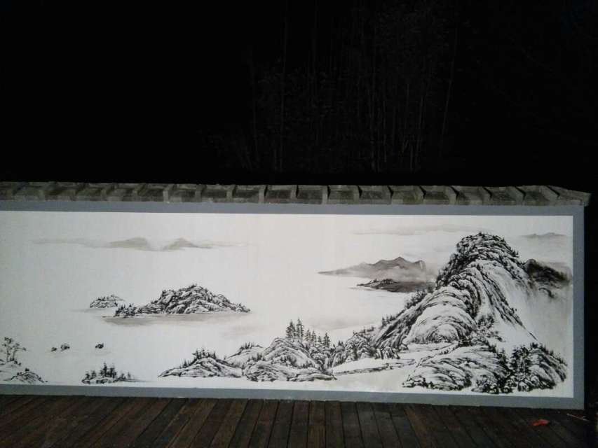 南京水墨外墙体彩绘 围墙黑白手绘图 江苏文化墙墙绘厂家