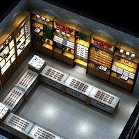 承接各类成都眼镜店展柜、眼镜店钢木展示柜定做厂家