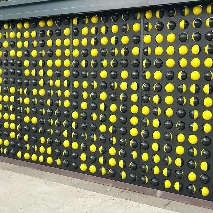 儿童趣味墙道具 黑黄圆球互动墙定制