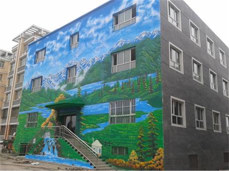 小区外墙体彩绘 车库墙体彩绘定制 南京墙绘优质厂家