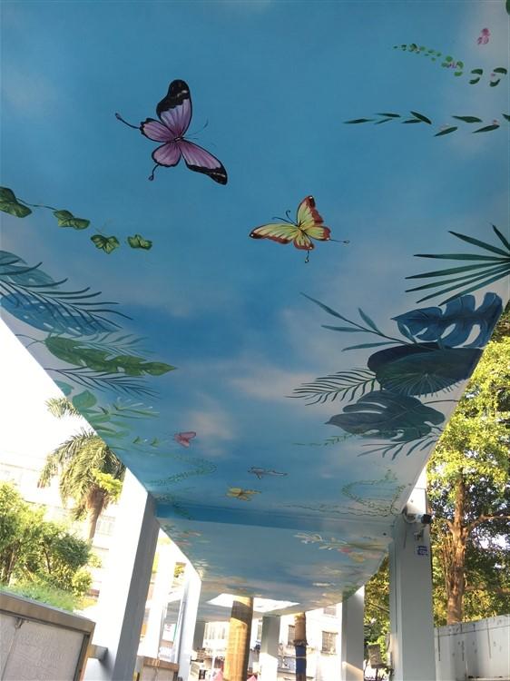 架空层吊顶彩绘 样板房墙体手绘 诚信厂家 价格合理