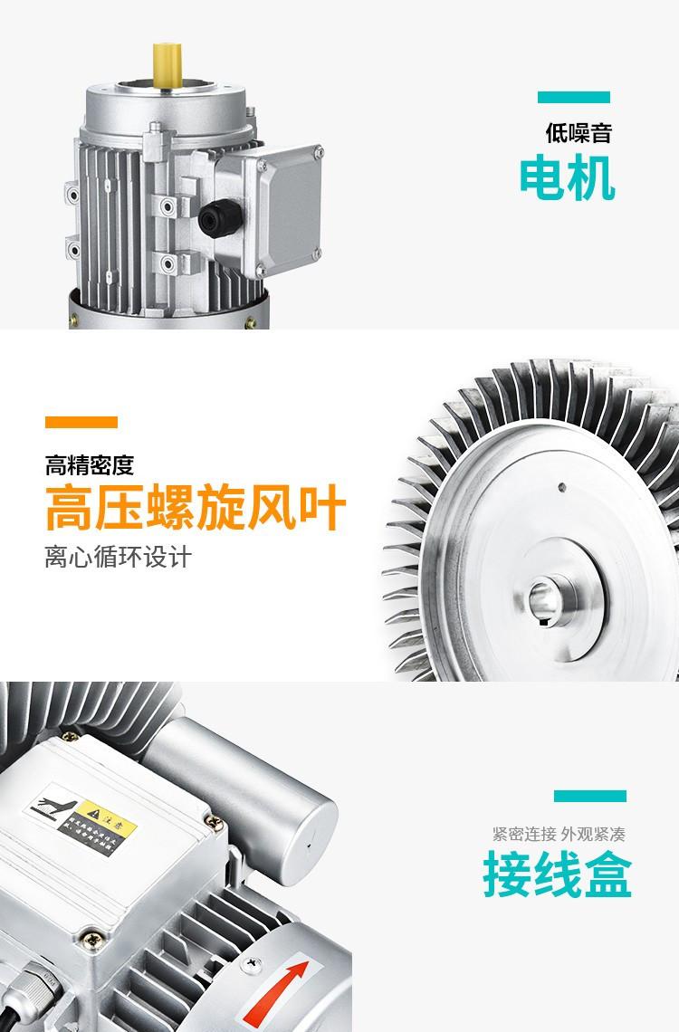 排污水曝气旋涡气泵 RB-93D-1/8.5KW电镀厂曝气高压气泵