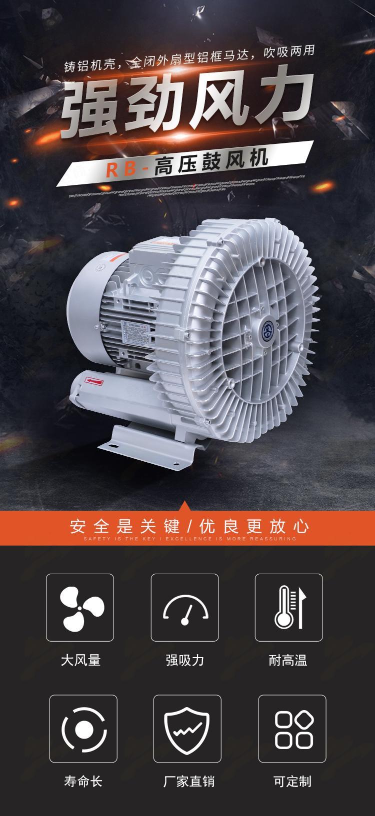 发酵曝气漩涡风机 RB-72S-3 高压鼓风机 全风双叶轮发酵高压风机