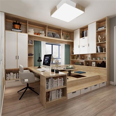 多功能房定制榻榻米+衣柜+书柜/书架+书桌