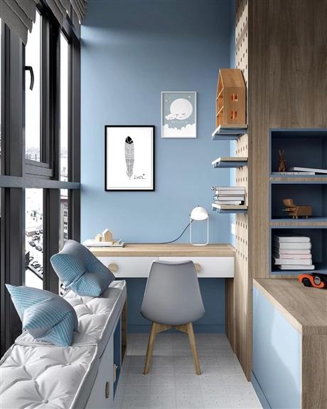 阳台定制储物柜+隐形床+定制书桌书架+定制吧台