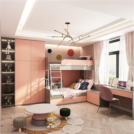 儿童房定制高低床+衣柜+书架/书柜+书桌