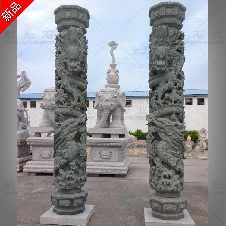 销售石雕龙柱  福建石雕龙柱厂家  寺庙双龙石龙柱雕塑