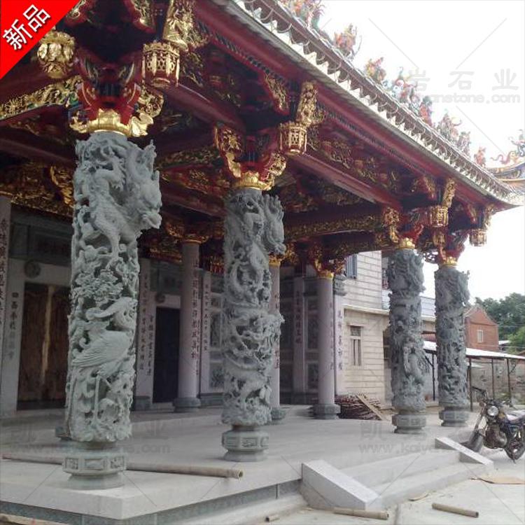 双龙石雕龙柱  福建石雕龙柱  大型石雕盘龙柱  承接寺庙古建