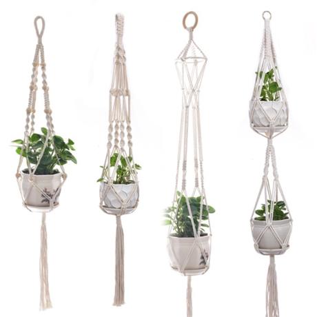 恒鼎创意花盆网兜 植物绿化吊篮悬挂器 纯手工可定制编织花盆网兜