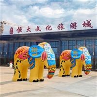 广州大型玻璃钢彩绘大象雕塑 宏骏玻璃钢厂家 定制