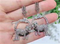 歐美復古豹耳環925銀針鋯石耳環飾品批發