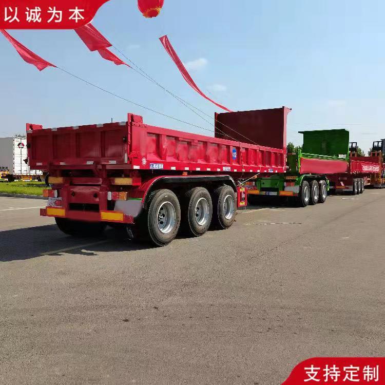 現車直供 平板式后翻半掛車 輕型運輸自卸車 長途運輸后翻自卸車