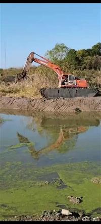 东莞高�陡浇�水上挖机出租平台