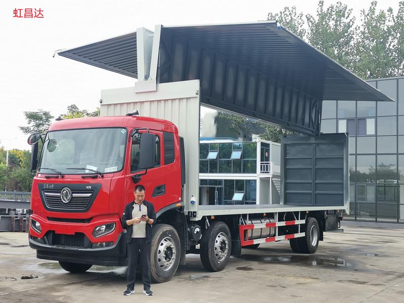 东风天锦小三轴9.8米国六飞翼车价格 湖北飞翼车改装厂家 可上牌